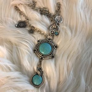 Turquoise and Silvertone Asymmetrical Necklace  18